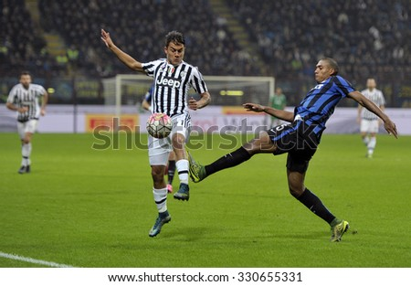 MILAN, ITALY-OCTOBER 18, 2015: soccer players andrea barzagli and juan jesus in action during the italian professional soccer match FC Internazionale vs FC Juventus, at San Siro stadium, in Milan.