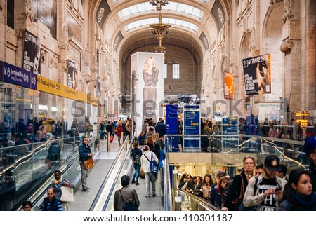 MILAN, ITALY - OCTOBER 14, 2015: The interior view of Milano Centrale railway station in Milan, Italy.