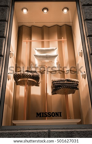 Milan, Italy - October 8, 2016: Window of a Missoni shop in Milan - Montenapoleone area, Italy. Few days after Milan Fashion Week. Fall Winter 2017 Collection.