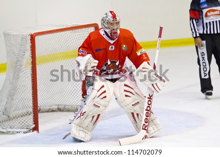 MILAN, ITALY - SEP 22:Gunther Hell of HC Bozen during a game at Agora Arena on September 22, 2012, in Milan - stock photo