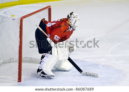 MILAN, ITALY - SEPT 30: Goalie Thomas Commisso  of HC Perzen  during a game at Agora Arena on September 30, 2011 against Hc Milano. Hc Milano won 5-0. - stock photo