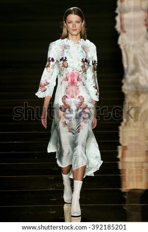 MILAN, ITALY - SEPTEMBER 23: A Model walks runway at the Francesco Scognamiglio show during Milan Fashion Week Spring/Summer 2016 on September 23, 2015 in Milan, Italy.  - stock photo