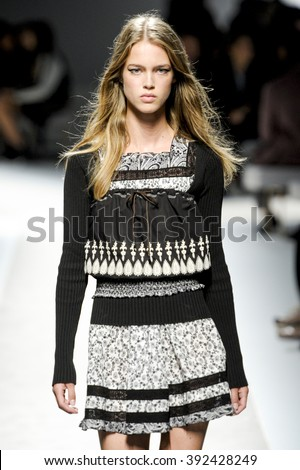 MILAN, ITALY - SEPTEMBER 23: A model walks the runway during the Fay show during the Milan Fashion Week Spring/Summer 2016 on September 23, 2015 in Milan, Italy.  - stock photo