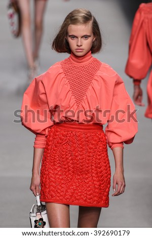 MILAN, ITALY - SEPTEMBER 24: A model walks the runway during the Fendi fashion show as part of Milan Fashion Week Spring/Summer 2016 on September 24, 2015 in Milan, Italy. - stock photo