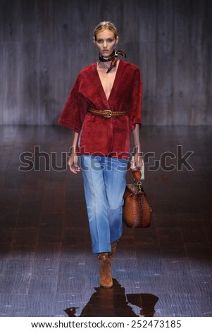 MILAN, ITALY - SEPTEMBER 17: Anja Rubik walks the runway during the Gucci show as a part of Milan Fashion Week Womenswear Spring/Summer 2015 on September 17, 2014 in Milan, Italy. - stock photo