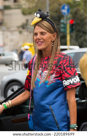MILAN, ITALY - SEPTEMBER 17: Anna Dello Russo outside Gucci catwalk show as part of Milan Women's Fashion Week on SEPTEMBER 17, 2014 in Milan. - stock photo