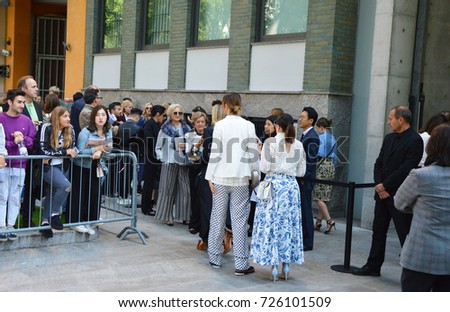 MILAN, ITALY - SEPTEMBER 22, 2017: crowd of people waiting for enter in the show