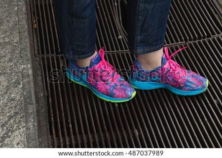 MILAN, ITALY - SEPTEMBER 21, 2016: Detail of shoes outside Fausto Puglisi fashion show building during Milan Women Fashion Week SS17.