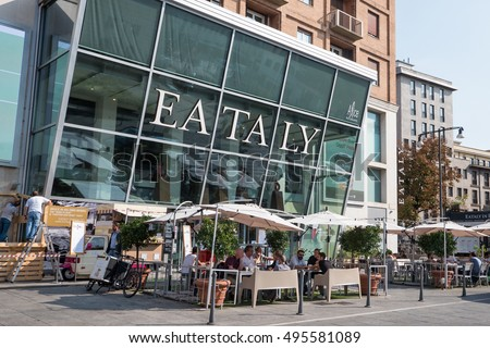 MILAN, ITALY - SEPTEMBER 27, 2016: Eataly store. Eataly is a high-end Italian food market/mall chain founded by Oscar Farinetti in 2004.