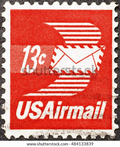 Milan, Italy - September 11, 2016: Envelope with wings on american postage stamp