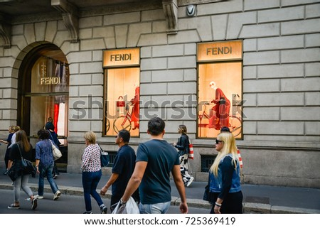 Milan, Italy - September 24, 2017:  Fendi store in Milan. Fashion week Fendi shopping