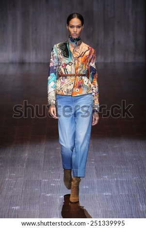 MILAN, ITALY - SEPTEMBER 17: Joan Smalls walks the runway during the Gucci show as a part of Milan Fashion Week Womenswear Spring/Summer 2015 on September 17, 2014 in Milan, Italy. - stock photo