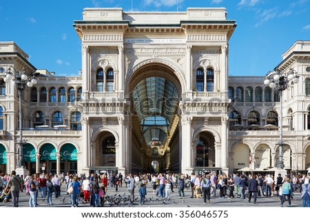 MILAN, ITALY - September 24: Milan Vittorio Emanuele gallery view with people in a sunny day on September 24, 2015 in Milan Italy. The gallery hosts many luxury shops of the italian fashion capital. - stock photo