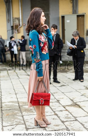 MILAN, ITALY - SEPTEMBER 23: Miriam Leone arrives at the Gucci show during the Milan Fashion Week Spring/Summer 2016 on September 23, 2015 in Milan, Italy. - stock photo