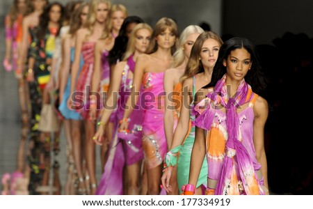 MILAN, ITALY-SEPTEMBER 25, 2009: Models catwalk runway during the Blumarine spring-summer collection. - stock photo