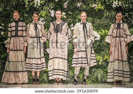 MILAN, ITALY - SEPTEMBER 27: Models pose on the runway during the Laura Biagiotti fashion show as part of Milan Fashion Week Spring/Summer 2016 on September 27, 2015 in Milan, Italy.  - stock photo