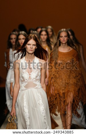 MILAN, ITALY - SEPTEMBER 17: Models walk the runway finale during the Alberta Ferretti show as part of Milan Fashion Week Womenswear Spring/Summer 2015 on September 17, 2014 in Milan, Italy. - stock photo