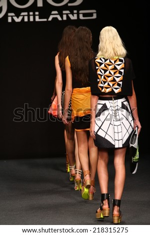 MILAN, ITALY - SEPTEMBER 17: Models walk the runway finale during the Byblos show as a part of Milan Fashion Week Womenswear Spring/Summer 2015 on September 17, 2014 in Milan, Italy.