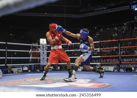 MILAN, ITALY-SEPTEMBER 06, 2009: non professional boxe match backsai vs lima of the boxe amateur world championship, in Milan