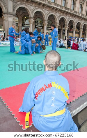 MILAN, ITALY - SEPTEMBER 4: sporting event held on September 4, 2010 in downtown Milan. Municipality promote sports like Free climbing, boxing, soccer, martial arts and others to the citizens.