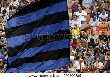 MILAN, ITALY-SEPTEMBER 28,2014: stadium soccer fans watching the italian serie A match FC Internazionale vs Cagliari at San Siro stadium, in Milan. - stock photo