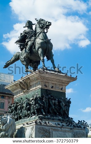 Milan, Italy - September 5th, 2015: closeup photo of the statue of Vittorio Emanuele II (Victor Emmanuel II) in Piazza di Duomo in Milan, Italy. - stock photo