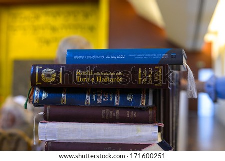MILAN, ITALY - SEPTEMBER 29: Torah and holy texts books inside the synagogue in Milan September, 29 2013. - stock photo
