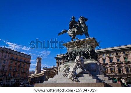 MILAN, ITALY - SEPTEMBER 12: Victor Emmanuel II monument on September 12, 2013 in Milan. Victor Emmanuel II was King of Italy from 1861 until his death in 1878.