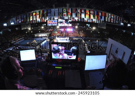 MILAN, ITALY-SEPTEMBER 11, 2009: video screenplay  with a panoramic view of the Forum arena, during a boxe match of the World Boxing Championship, in Milan.