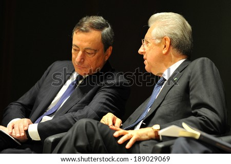"""MILAN, ITALY - STEPTEMBER 27: Mario Draghi and Mario Monti in Meeting organized by Bocconi University on Luigi Spaventa His life, his passions, his lectures """", Sept 27, 2013 in Milan, Italy.  - stock photo"""