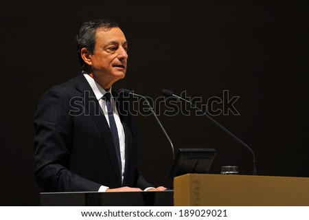 """MILAN, ITALY - STEPTEMBER 27: Mario Draghi  in Meeting organized by Bocconi University on Luigi Spaventa His life, his passions, his lectures """", Sept 27, 2013 in Milan, Italy.  - stock photo"""