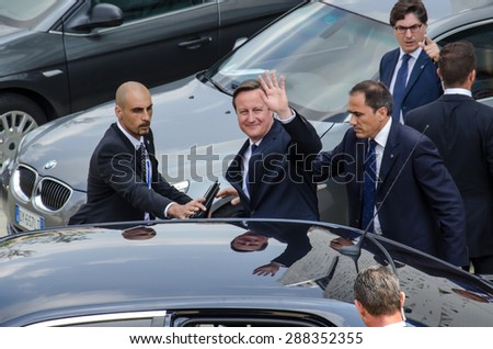 MILAN, JUNE 17, 2015: British Prime Minister David Cameron visits Expo on the occasion of the UK National Day at Expo 2015 - stock photo