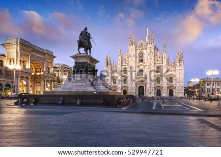 MILAN, Lombardia, Italy, August 28 2015-Duomo at sunrise, Milan, Europe.