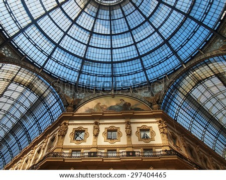 Milan, Lombardy/Italy - Jun 28, 2015: Dome and murals of Victor Emmanuel II Gallery in Milan, Lombardy, Italy - stock photo