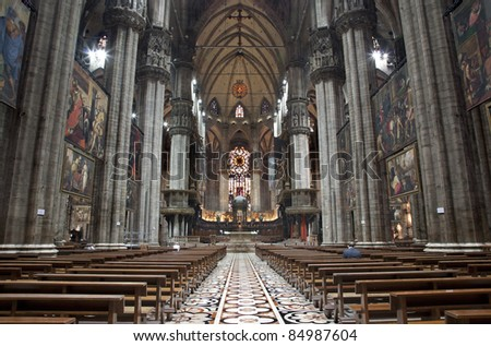 Milan - main nave of Dom - stock photo