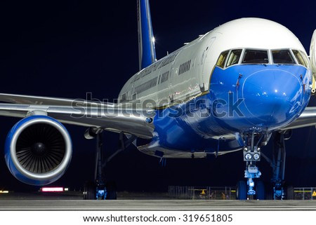 MILAN MALPENSA - JUNE 16, 2015: The presidential Boeing 757 (Air Force Two) which carried Michelle Obama to Milan for Expo 2015 - stock photo