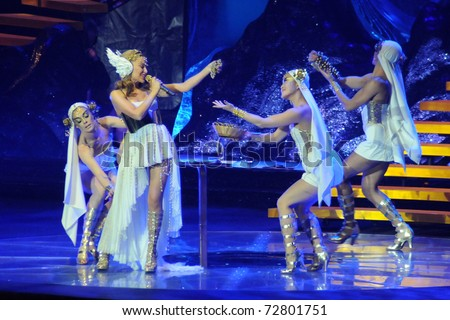 MILAN, MARCH 8 : Kylie Minogue in concert, Les Folies Night Tour on March 8, 2011 in Assago (Milan), Italy - stock photo