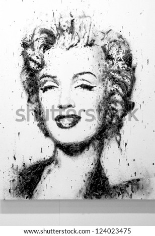 MILAN - MARCH 27: Painting representing Marylin Monroe, black and white version, in exhibition at MiArt ArtNow, international exhibition of modern and contemporary art March 27, 2010 in Milan, Italy. - stock photo
