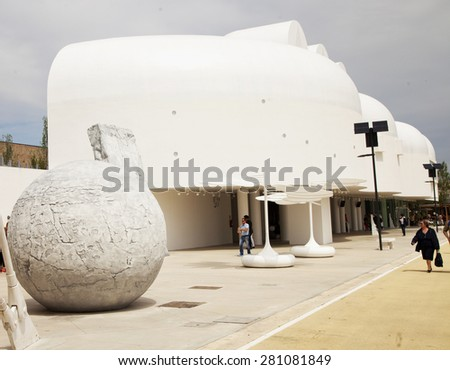 MILAN, MAY 22, 2015: South Korea Pavilion at Expo 2015, universal exposition on the theme of food in MILAN, ITALY - stock photo