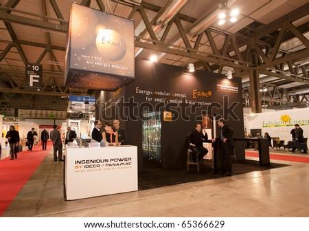 MILAN -  NOV 17-19: Ingenious Power stand at INVEX / ENERSOLAR+ 2010, International fair on solar energy, in Milan Fair, Nov 17-19, 2010. - stock photo