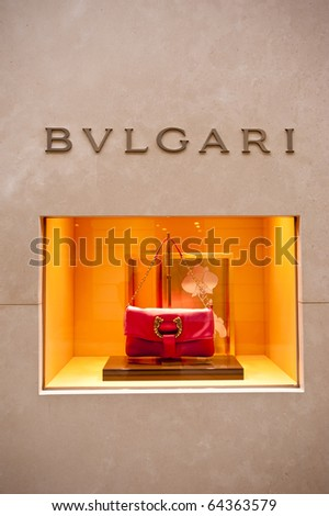 MILAN - OCT 8: Bulgari boutique in Milan on Oct 8, 2010. The company said accessory sales rose 20.7% in the first semester of 2010 helped by a new advertising campaign. (Reuters) - stock photo