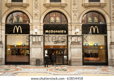MILAN - OCT 27: McDonald's in Galleria Vittorio Emanuele, Milan, Oct 27, 2010. The Company's sales increased 6.0%, (U.S. +5.3%, Europe +4.1% and Asia/Pacific, Middle East and Africa +8.1%) (PRNewswire) - stock photo