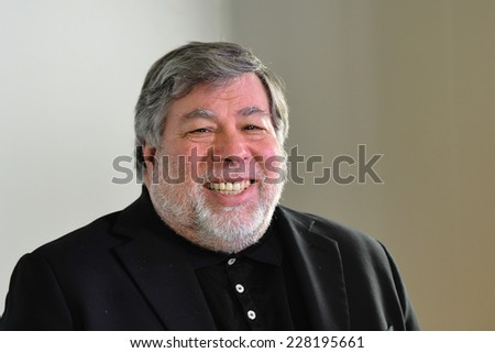 MILAN - 2014 OCT 28: Steve Wozniak (Stephen Gary) co-founder Apple Computer during a WOBI conference on october 28, 2014 in Milan, Italy.