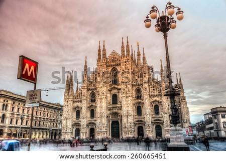 MILAN - OCTOBER 14: Duomo Milan Cathedral on sunset on October 14, 2014 in Milan, Italy. - stock photo