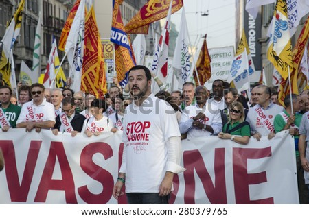 Milan, october 18, 2014 - Leader of Lega Nord movement, Matteo Salvini during the 'No invasion' march, organized to combat immigration - stock photo