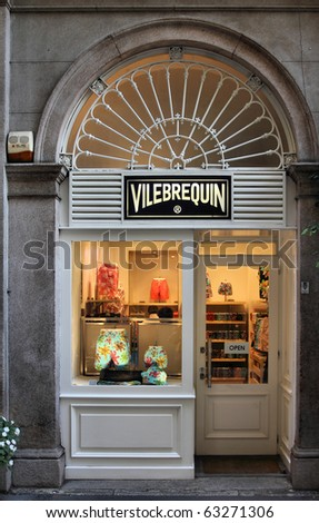 MILAN - OCTOBER 7: Vilebrequin store on October 7, 2010 in Milan's Via della Spiga street. Via della Spiga is one of most prestigious streets to buy luxury fashion in Europe (source: Lonely Planet). - stock photo