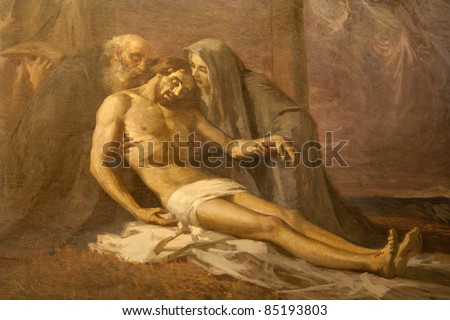 Milan -  paint of Deposition from the cross  - Saint Mark church - stock photo