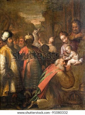Milan - paint of Three Magi from Cappella Portinari - anonym artist - stock photo