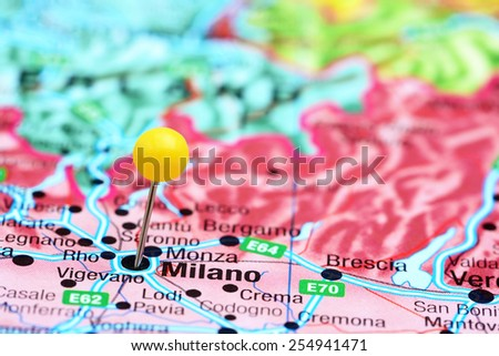 Milan pinned on a map of europe  - stock photo