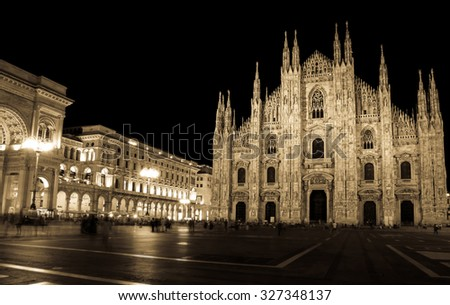 Milans Duomo Gothic Church At Night